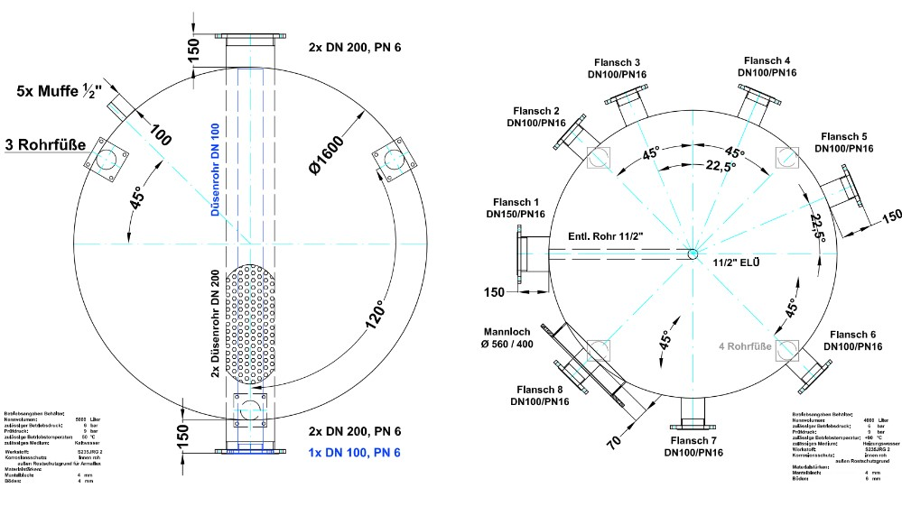 Maße Größe Pufferspeicher Ausführungen-vorlagen-konstruktion-abteilung